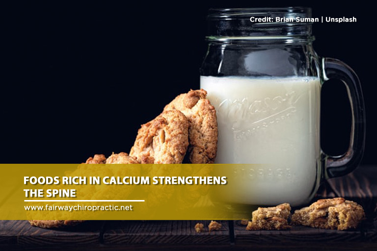 Foods rich in calcium strengthens the spine